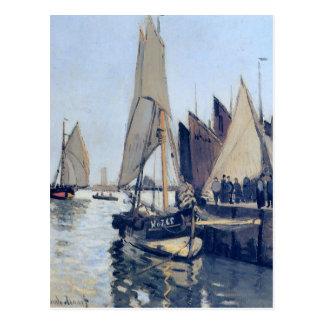 Barcos de navegación en Honfleur de Claude Monet Tarjetas Postales