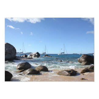 """Barcos de navegación en los baños, BVI Invitación 5"""" X 7"""""""