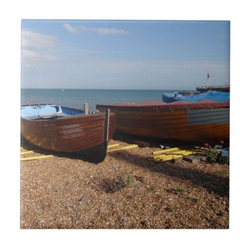Barcos de pesca abiertos teja cerámica