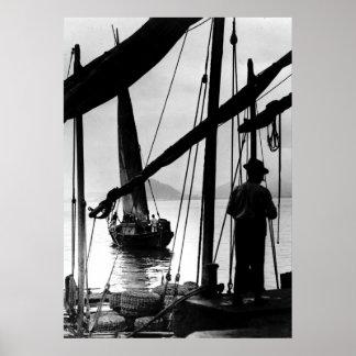 Barcos de pesca brasileños 1890 póster