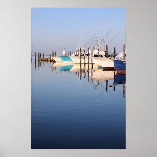Barcos de pesca de la carta poster