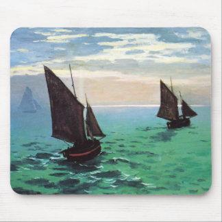 Barcos de pesca de Monet en el cojín de ratón de m Alfombrilla De Raton