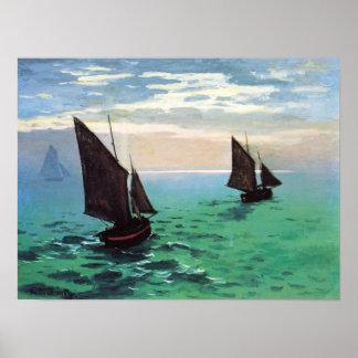 Barcos de pesca de Monet en el poster del mar