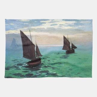 Barcos de pesca de Monet en la toalla de cocina de