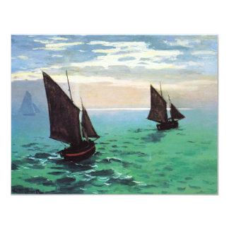 """Barcos de pesca de Monet en las invitaciones del Invitación 4.25"""" X 5.5"""""""