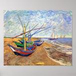 Barcos de pesca de Van Gogh en el poster de la pla