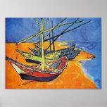 Barcos de pesca de Van Gogh en la bella arte de la Poster
