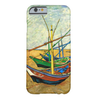 Barcos de pesca de Van Gogh en la playa en Saintes Funda De iPhone 6 Barely There