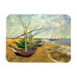 Barcos de pesca de Van Gogh en la playa en Saintes Imán Rectangular