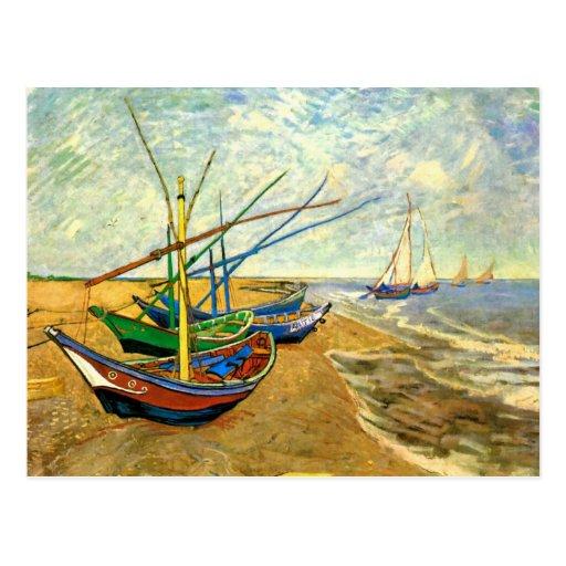 Barcos de pesca de Van Gogh en la playa en Saintes Postal