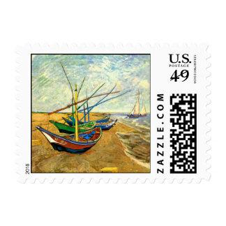 Barcos de pesca de Van Gogh en la playa en Saintes Sello