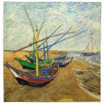 Barcos de pesca de Van Gogh en la playa en Saintes Servilleta