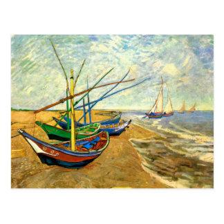 Barcos de pesca de Van Gogh en la playa en Saintes Postales