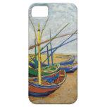 Barcos de pesca de Van Gogh en la playa iPhone 5 Case-Mate Protectores