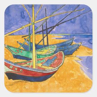 Barcos de pesca de Vincent van Gogh el | en la Pegatina Cuadrada