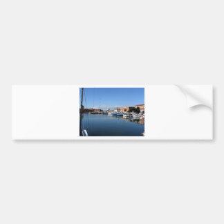 Barcos de pesca del embarcadero amarrados pegatina para auto