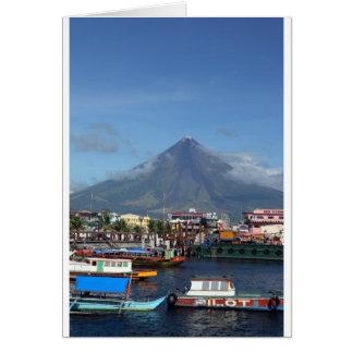 Barcos de pesca del Monte Mayon y de Legaspi Tarjeta