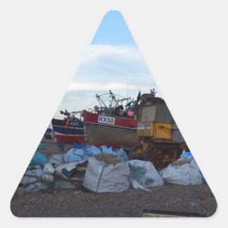 Barcos de pesca dicha y cuatro hermanos pegatina triangular