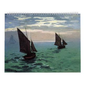 Barcos de pesca en el mar calendarios