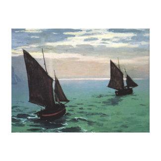 Barcos de pesca en el mar lienzo envuelto para galerías