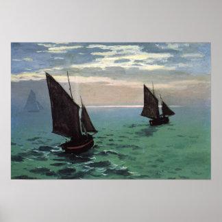 Barcos de pesca en el mar poster
