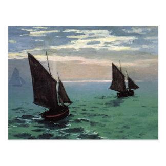 Barcos de pesca en el mar postales