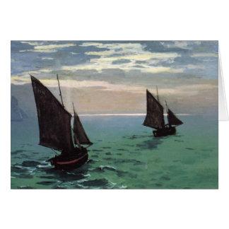 Barcos de pesca en el mar tarjeta de felicitación