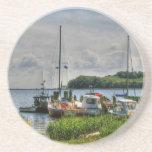 Barcos de pesca en la isla II de Ruegen Posavasos Para Bebidas