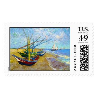 Barcos de pesca en la playa de Vincent van Gogh Estampillas
