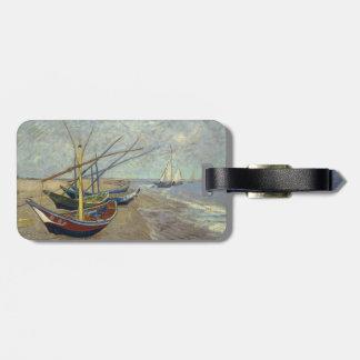 Barcos de pesca en la playa de Vincent van Gogh Etiqueta De Equipaje
