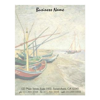Barcos de pesca en la playa de Vincent van Gogh Membrete A Diseño