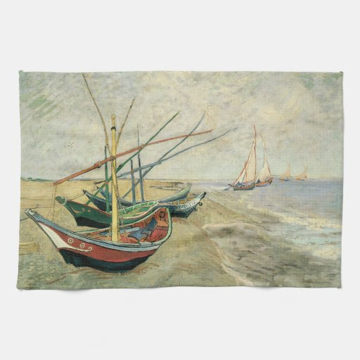 Barcos de pesca en la playa de Vincent van Gogh Toalla