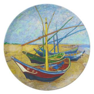 Barcos de pesca en la playa de Vincent van Gogh Platos Para Fiestas