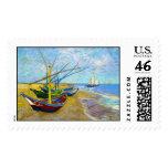 Barcos de pesca en la playa de Vincent van Gogh Franqueo