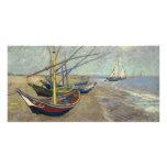Barcos de pesca en la playa de Vincent van Gogh Tarjeta Fotografica