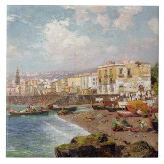 Barcos de pesca en la playa en Marinella, Nápoles  Tejas