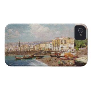 Barcos de pesca en la playa en Marinella, Nápoles iPhone 4 Funda
