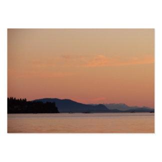 Barcos de pesca en la puesta del sol tarjetas de visita grandes