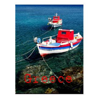 Barcos de pesca en las Cícladas Tarjeta Postal
