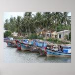 Barcos de pesca, Hoi, Vietnam Póster