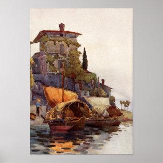 Barcos de pesca italianos del vintage Ella Du Cane Posters