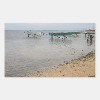 Barcos de pesca rectangular pegatina