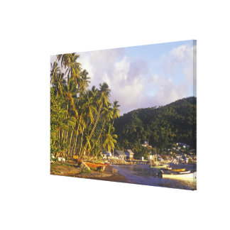 Barcos de pesca, Soufriere, St Lucia, del Caribe Lienzo Envuelto Para Galerias