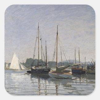 Barcos de placer, Argenteuil, c.1872-3 Pegatina Cuadrada