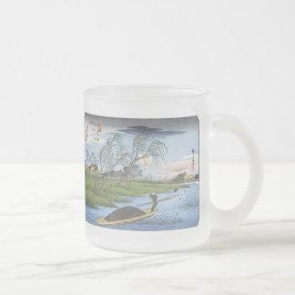 Barcos de Poling de los hombres, Hiroshige, taza d