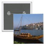 Barcos de Rabelo, Oporto, Portugal Pin Cuadrada 5 Cm