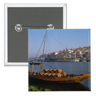 Barcos de Rabelo, Oporto, Portugal Pin Cuadrado