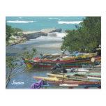 Barcos de río coloridos Negril Jamaica Tarjeta Postal