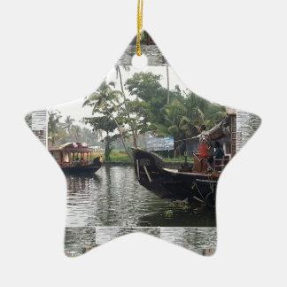 Barcos de RÍO de KERALA la India Adorno De Cerámica En Forma De Estrella
