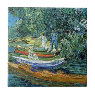 Barcos de Rowing de Van Gogh en los bancos del Ois Azulejo Cuadrado Pequeño